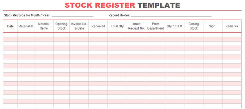 Stock-Register-Template